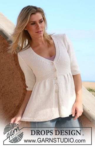 """105-1 Jacket with pleats and ¾ sleeves or long sleeves in """"Silke-Alpaca"""" by DROPS design"""