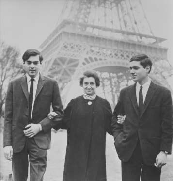 anuary 1, 1966: Former prime minister Indira Gandhi with her sons Rajiv and Sanjay Gandhi in Paris.