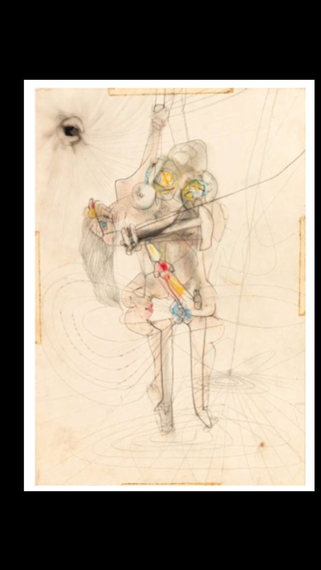 "Roberto Matta - ""Sans titre"", c. 1938 - Colored crayon and graphite on paper - 26,6 x 18,2 cm"