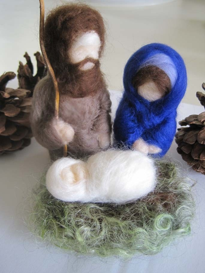 Waldorf Felted Nativity Creche Christmas Set. $65.00, via Etsy.