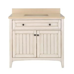 Home Decorators Collection Klein 37 in. Vanity in Antique White with Quartz Vanity Top in Beige with White Basin KLWVT3722D at The Home Depot - Mobile