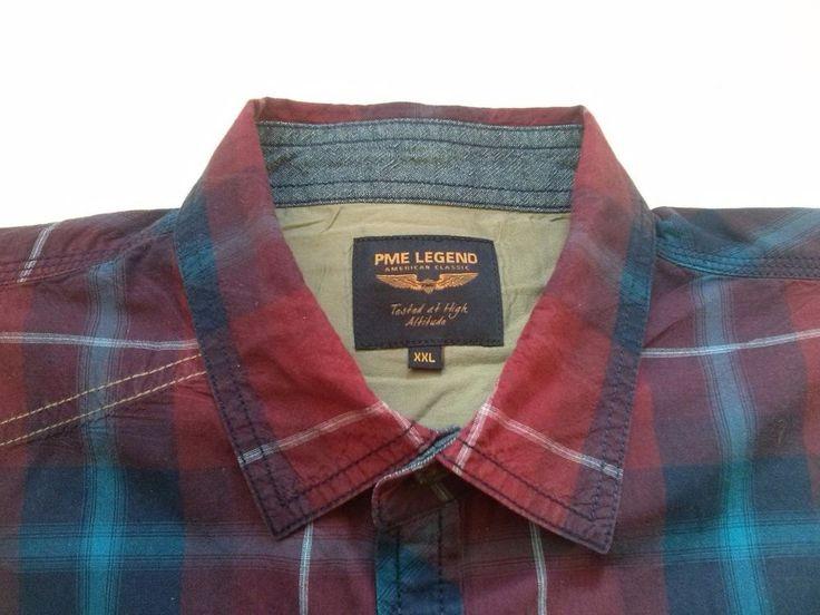 PALL MALL Mens Cotton Shirt long sleeve Red Checks Size 2XL  #PallMall #ButtonFront