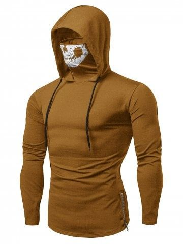 d311d6bb5 Shop for ✿ 39% OFF ✿ 2018 Drawstring Zipper Skull Mask Hoodie in LIGHT  KHAKI S online at $21.62 and discover other cheap Long Sleeves at  Rosegal.com.