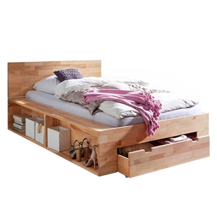 Massief houten bed TemukaWOOD - 180x200cm - eikenhout - 120 x 200cm - Kernbeukenhout