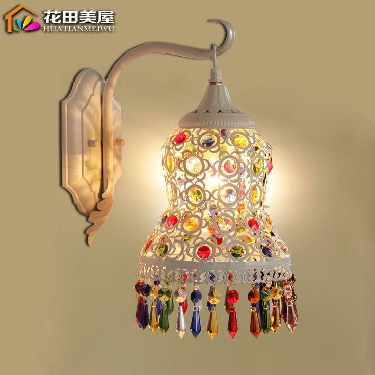 Europese tuin Bohemen kristal wandlamp slaapkamer dressoir nachtkastje badkamermeubel spiegel lamp(China (Mainland))