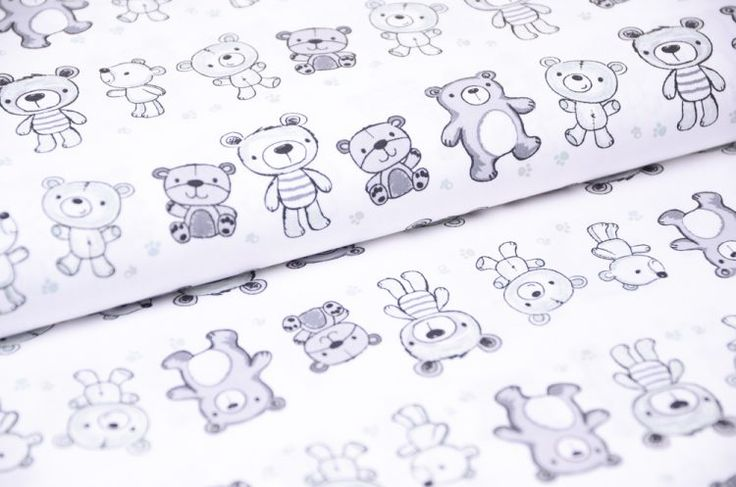 Šedé medvede 100 % bavlnená látka na patchwork detský motív