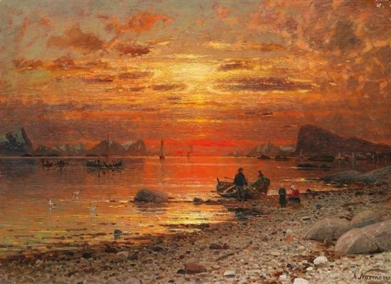Adelsteen Normann - Coastline in the Evening Light