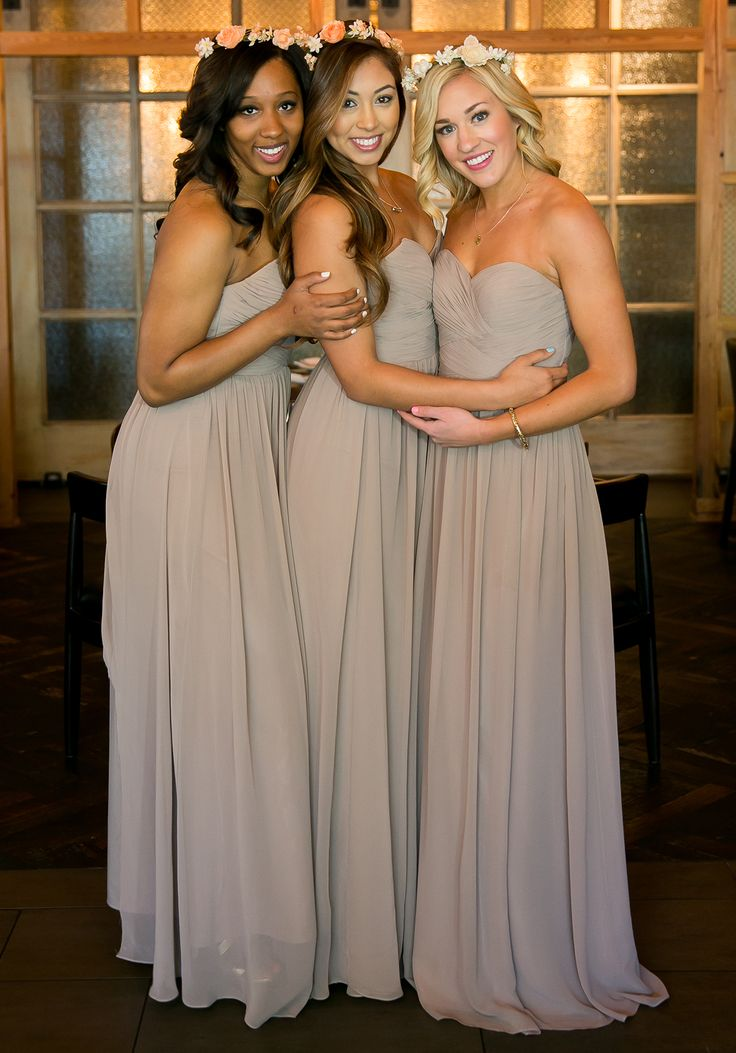 @shoprevelry Grey floor-length bridesmaid dresses!