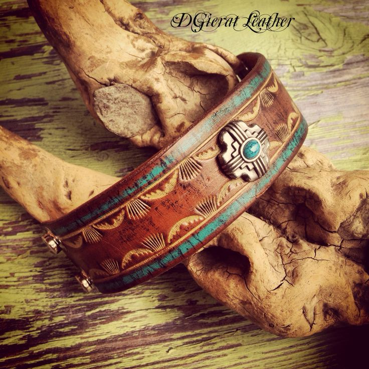 Hand tooled Leather Cuff Southwest Leather Wristband by dgierat