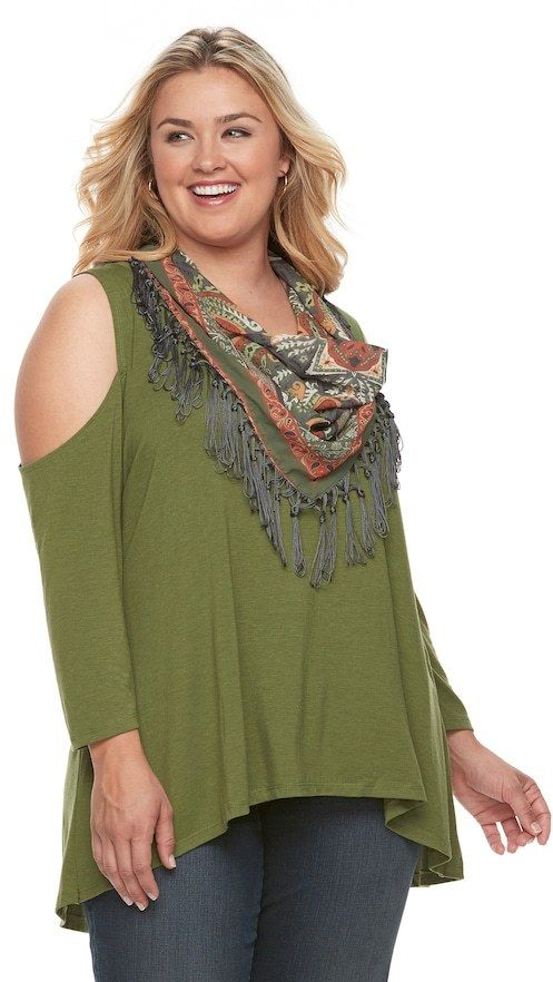 World Unity Plus Size World Unity Cold Shoulder Top with Tassle Scarf