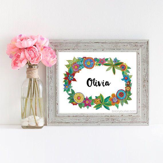 Personalised Custom Name Art - PRINT - Girls Room Art - Nursery Decor