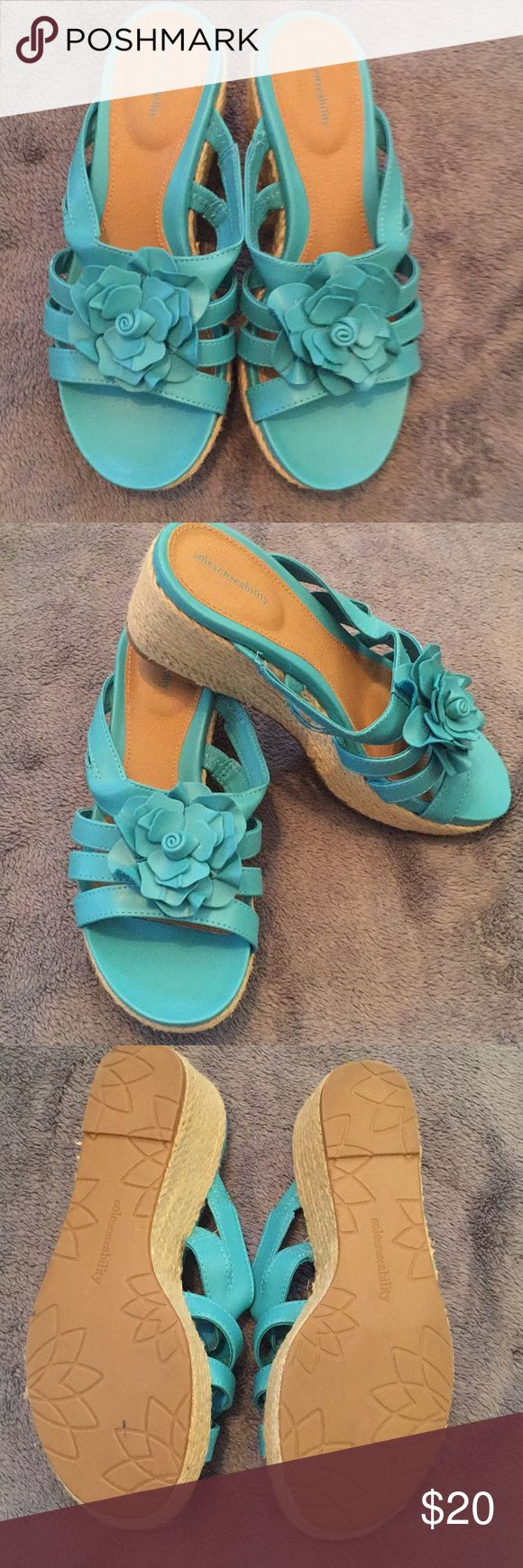 NEW Flower wedge sandals Turquoise wedges that are in pristine condition!  Beautiful color that is on trend right now.  Very comfortable shoes! sole senseability Shoes Wedges