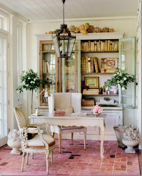 french provincial desk w/ bookcase covered by glass doors