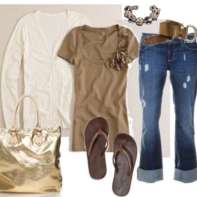 Me!Flipflops, Fashion, Casual Outfit, Casual Friday, Clothing, Gold Bags, Flip Flops, Spring Outfit, My Style