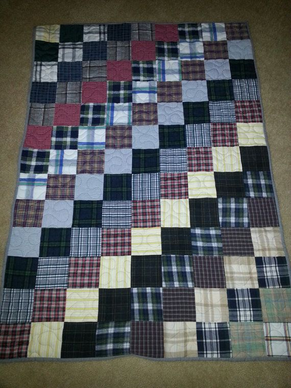 This is a lap size quilt measuring 39 x 56 inches. It is an old fashioned patchwork design made of mens shirts. You can order one like it in this size at this price. Fabric will be similar. Just order this item.  If you would like another size convo me and we can setup a custom order just for you. You can provide the clothing articles to make a memory quilt or I can make a quilt from my collection of mens shirts. You can even pick a color theme.  When quilts were first made in America they…