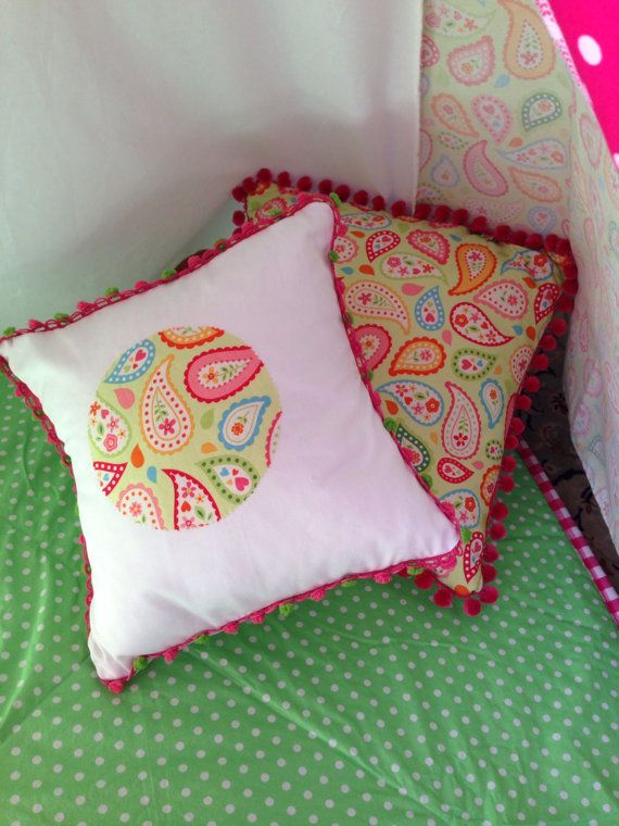 Pom pom or Ric rac trimmed cushion cover. by NestNFeather on Etsy