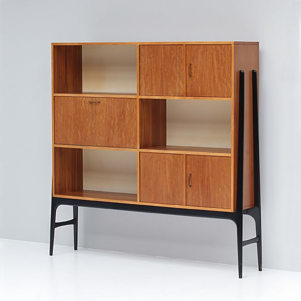 Alfred Hendrickx; Bubinga, Lacquered Wood and Brass Cabinet for Belform c1956.