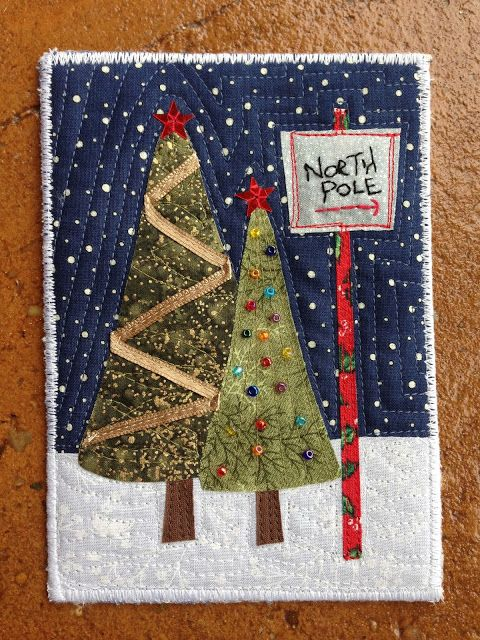 Fabric Christmas postcard - made with inspiration from Welcome to the North Pole