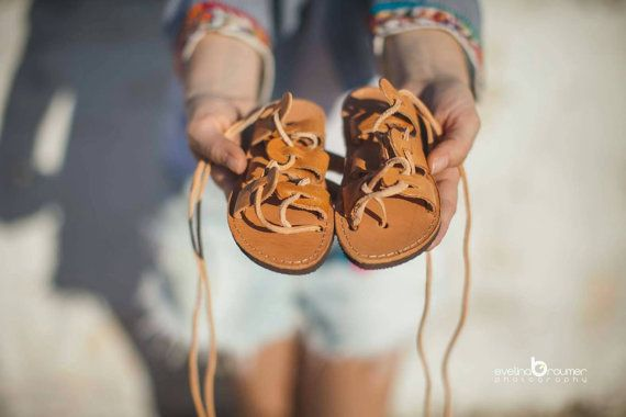 Baby classic lace up sandals /tan sandals/handmade in