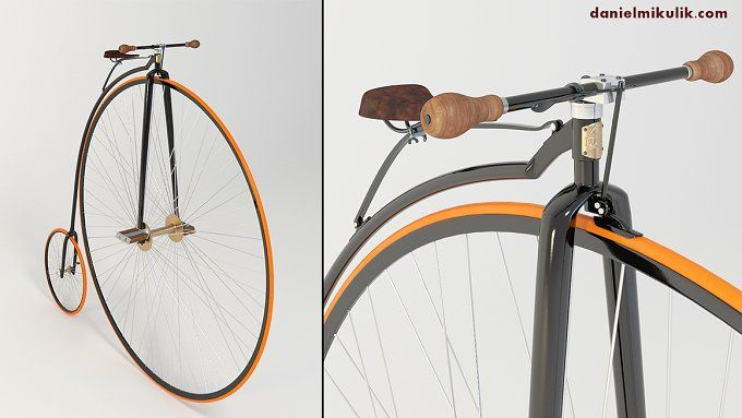Penny Farthing Bicycle by Daniel Mikulik on @creativemarket
