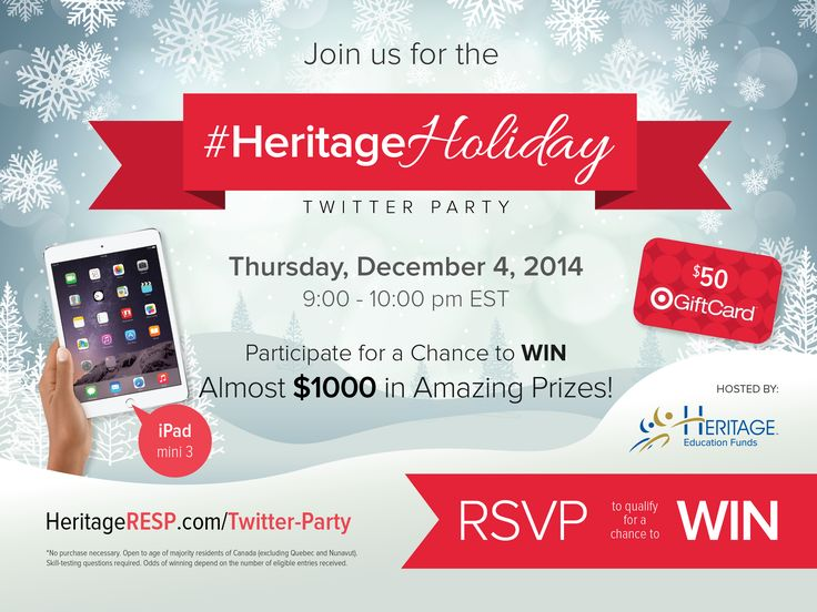#TwitterParty! Snowflakes falling, jingle bells ringing, the spirit of the holidays is here and Heritage Education Funds wants to help you..