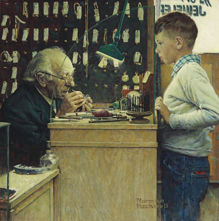 What Makes It Tick? (The Watchmaker), Norman Rockwell