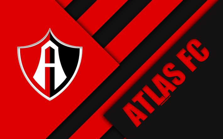 Download wallpapers Atlas FC, 4K, Mexican Football Club, material design, logo, red black abstraction, Guadalajara, Mexico, Primera Division, Liga MX, Club Atlas