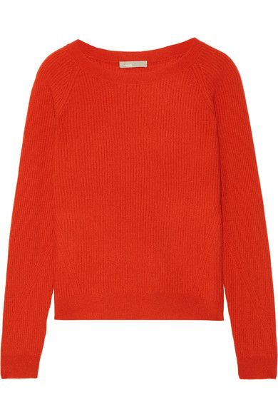 Add a pop of color to any look with Vince's papaya-hued sweater. Cut for a loose fit, it's knitted from pure cashmere and has a ribbed finish. Echo the brand's effortless mood and wear yours with loose tailoring.