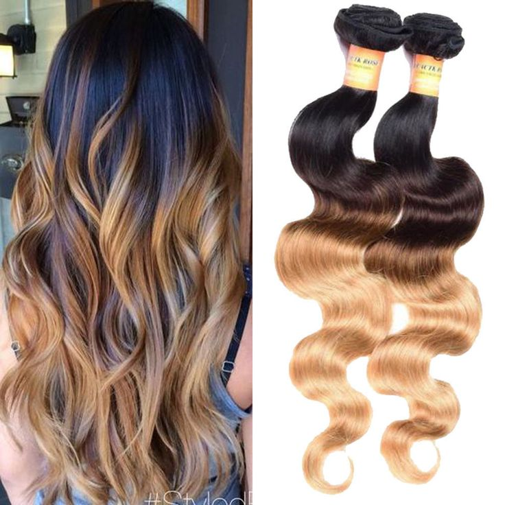 """300g 22"""" Real Human Hair Extension 1B/4/27 Body Wave Hair Weft Weave #Unbranded"""