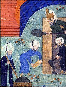 Süleymanname'de yer alan ve Mimar Sinan'ı Kanuni'nin türbesinin inşaatının başında, elinde mimarların kullandığı ölçü aleti zira ile gösteren minyatürden alıntı