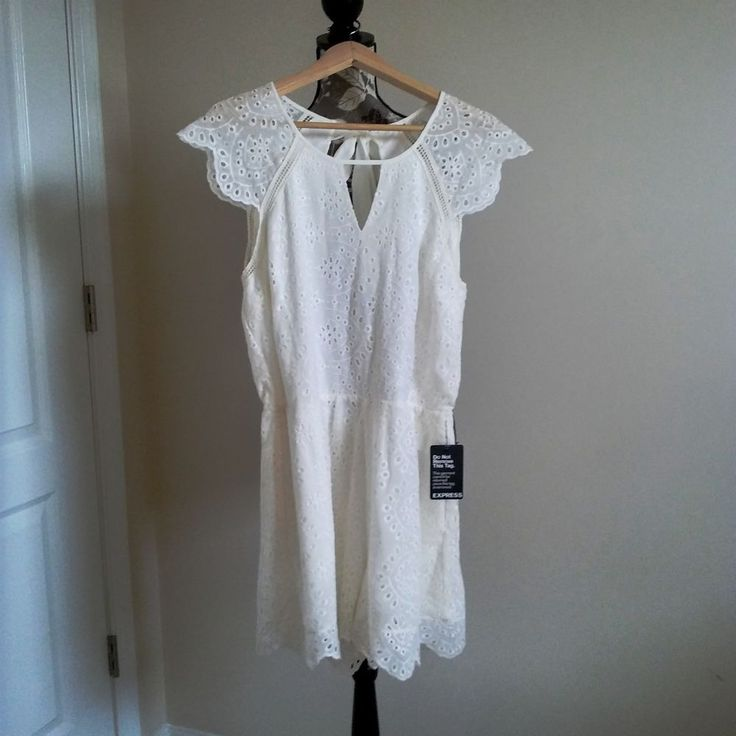 Express Womens Romper Size 12 Keyhole Neckline Ribbon Tie Back White Eyelet Lace #Express #Romper