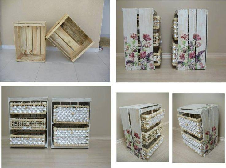 Cajonera con huacal manualidades pinterest - Manualidades cajas madera ...