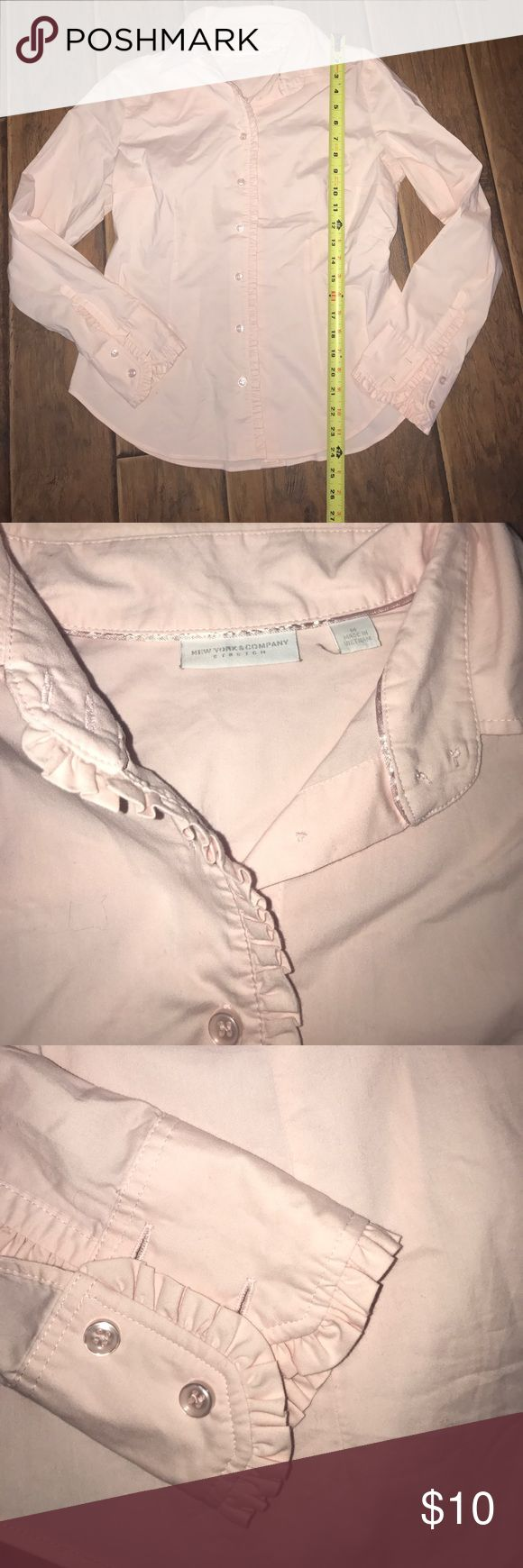 Pale pink NY & co top blouse shirt work ruffles m Pale pink. Pretty ruffle detail. 🌹Washed in cold hung to dry and never worn🌹🌺Moving and need to purge - everything going CHEAP!🌺 Bundle and send me your offers!!! 💠 New York and company express pacsun ann taylor loft roxy Hurley fox gap bloomingdales Nordstrom dress hoodie pants jeans top shirt Nike under Armour franchescas American eagle ae pink Victoria's Secret Lilly Pulitzer Calvin Klein London times surf merona bebe Jessica Simpson…