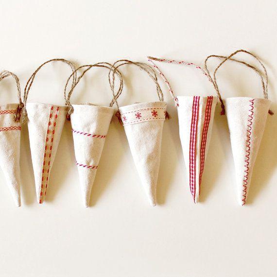 Set of 6 Handmade Scandinavian Christmas by AnneMetteHandmade, $18.00