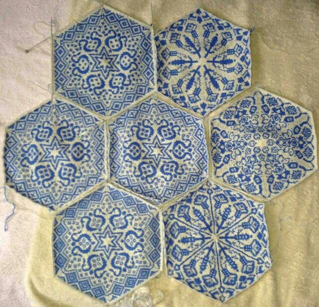 Knitting in a Persian tile pattern