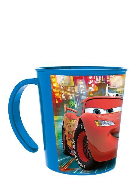 Autot-mukin kyljessä komeilee Salama. Muki sopii niin kylmien, kuin myös kuumien juomien nauttimiseen. Mukia voit käyttää mikrossa. Vetoisuus 2,8 dl.