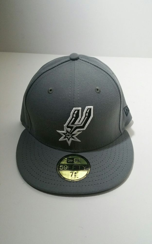 094d44488e2 San Antonio Spurs New Era 59Fifty Storm Gray Fitted Hat Size 7 3 8  NewEra   SanAntonioSpurs
