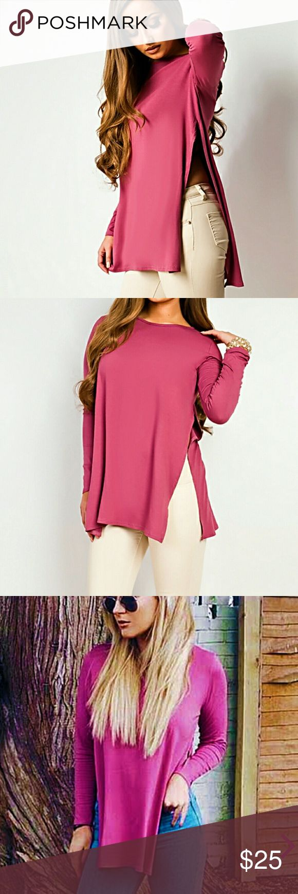 Red Long Sleeve Tops with a Slit Both Side Very smooth and silky Jennylyn Tops Tees - Long Sleeve