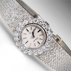Ladies Vintage Omega Watch Diamonds 18K White Gold