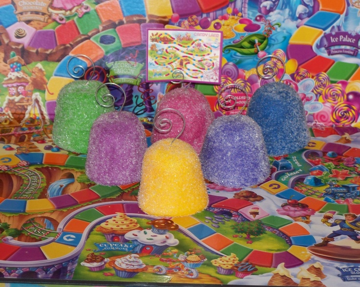 Choose One Fake Gumdrop Card Photo Holder Candy Land theme Birthday Party Decorations, Display, Photo Props. $5.25, via Etsy.