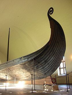 The Oseberg Viking Ship which is exhibited in the Viking Ship Museum in Oslo