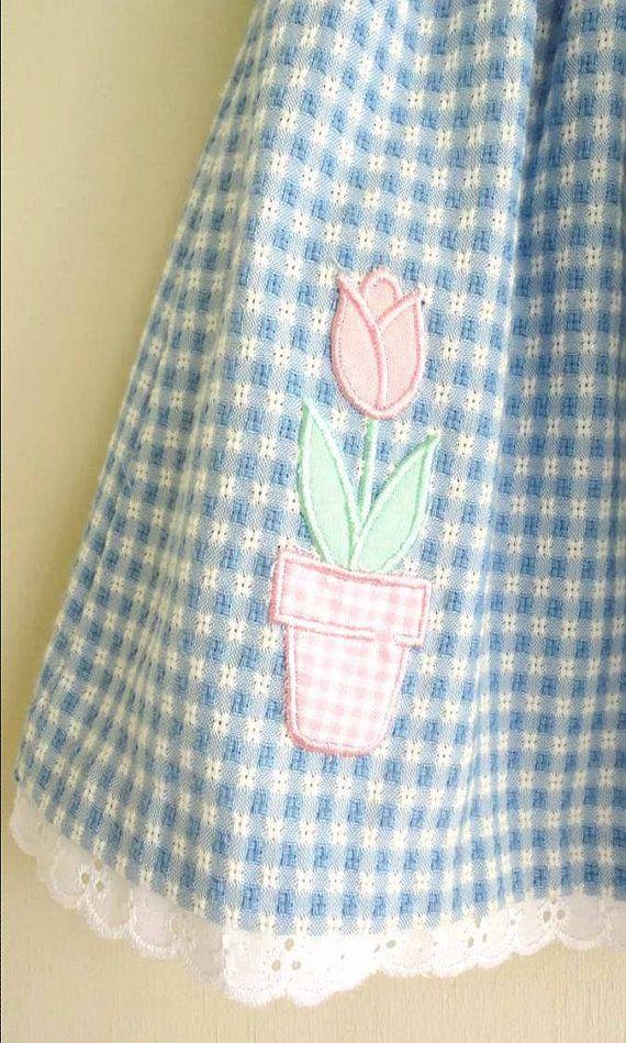 vintage dress : BLUE GiNGHAM pink flower dress by REiNViNTAGEkids