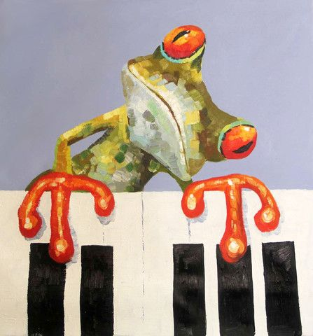 Tree Frog playing Piano- Available for sale at creativestrokes.com.au