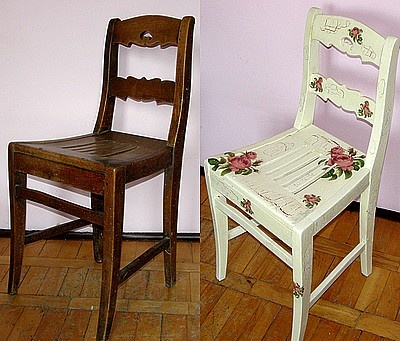painted chair, before and after / malowane krzesło, przed i po