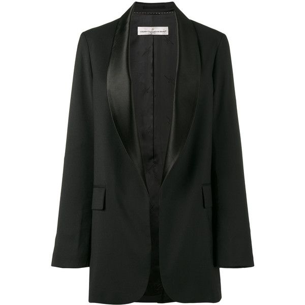 Golden Goose Deluxe Brand satin collar tuxedo jacket ($995) found on Polyvore featuring women's fashion, outerwear, jackets, black, formal jackets, evening jackets, formal evening jackets, oversized jacket and formal dinner jacket