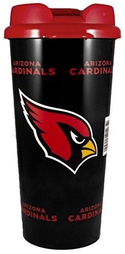 The NFL Arizona Cardinals Insulated Travel Mug is a 16 oz acrylic travel mug that holds hot or cold liquid. Dishwasher safe. Double walled construction.