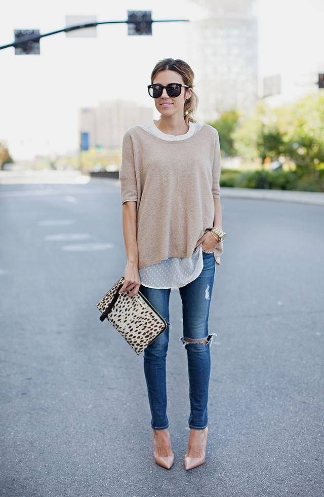 Distressed Skinny Jeans. Nude Heels. Calf Hair Clutch.