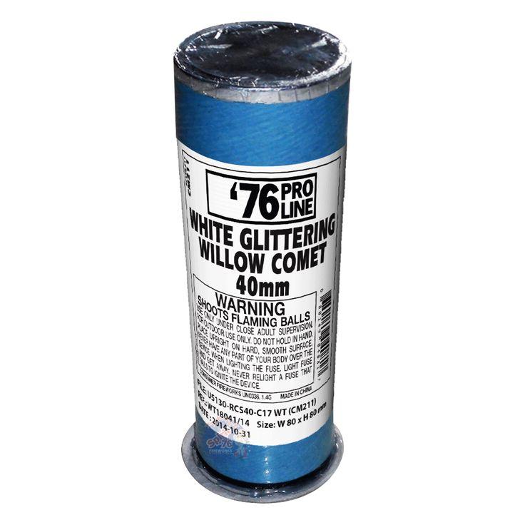White Glittering Willow Comet (40mm) - 76 Pro Line Fireworks | Spirit of 76