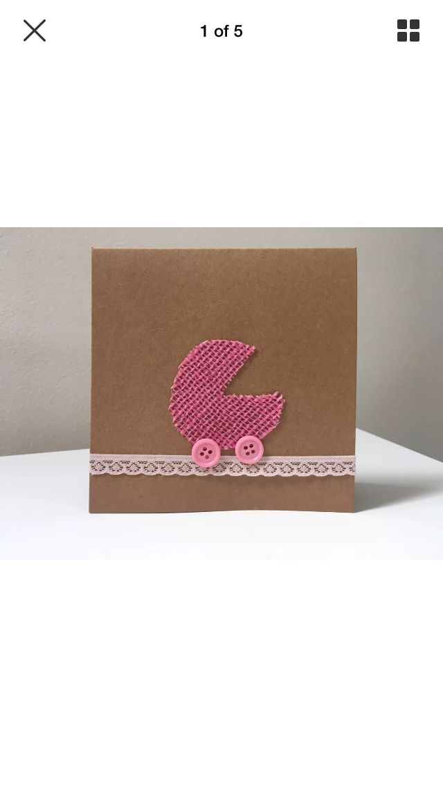 Handmade new baby card, hessian pram in pink with button wheels  http://etsy.me/2n9dFX0