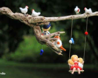 Needle felted Waldorf inspired mobile Memory of by Made4uByMagic